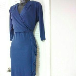 White House Black Market 6 blue faux wrap dress